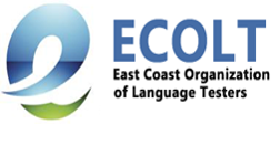 Blue and green letter e next to text reading ECOLT: East Coast Organization of Language Testers