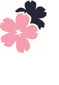 AELRC pink and blue overlapping flower logo