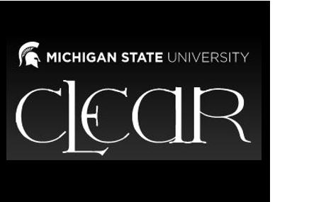 Michigan State University written above stylized CLEAR logo