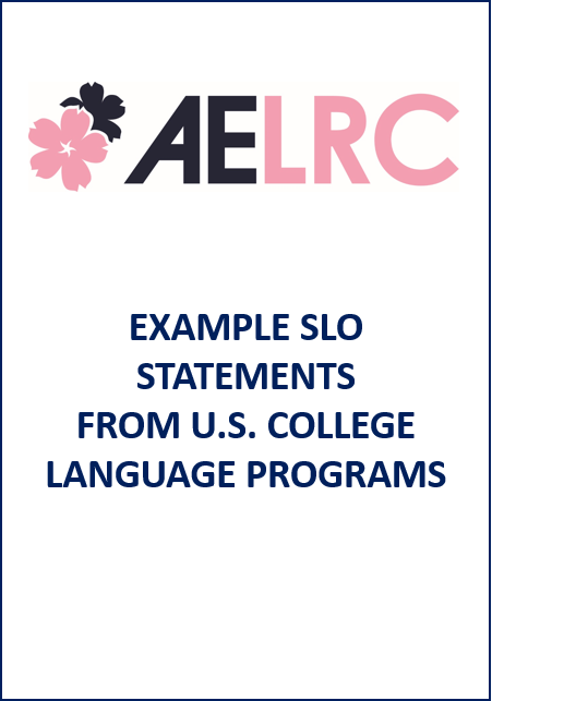 Cover of Example student learning outcome (SLO) statements from U.S. college language programs