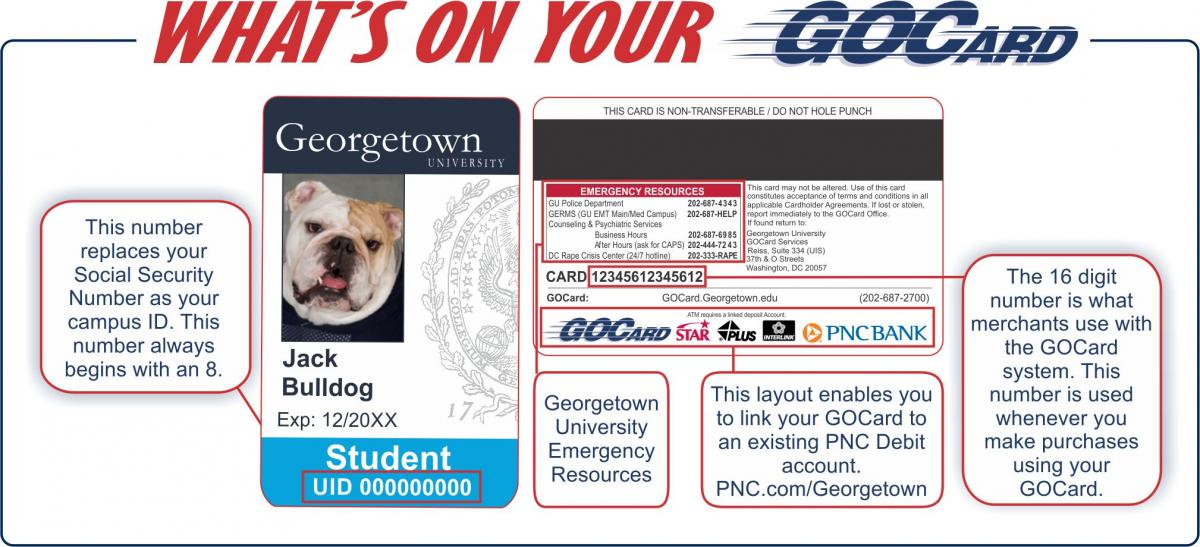 Components of the GOCard: Digitized photo, ISO number (used for Debit transactions), University ID number, magnetic Stripe, Emergency resources printed on the back of GOCard, Name & Title of cardholder
