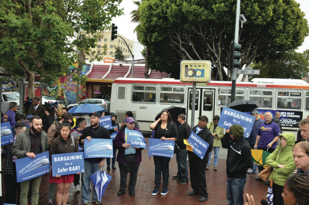 San Francisco Bay Area transit workers rally together in 2013.