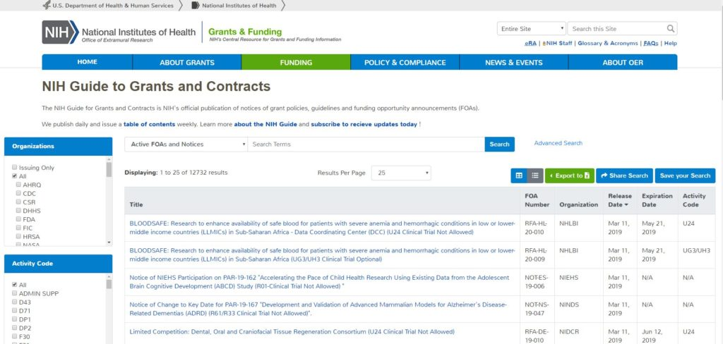 NIH Guide to Grants and Contracts
