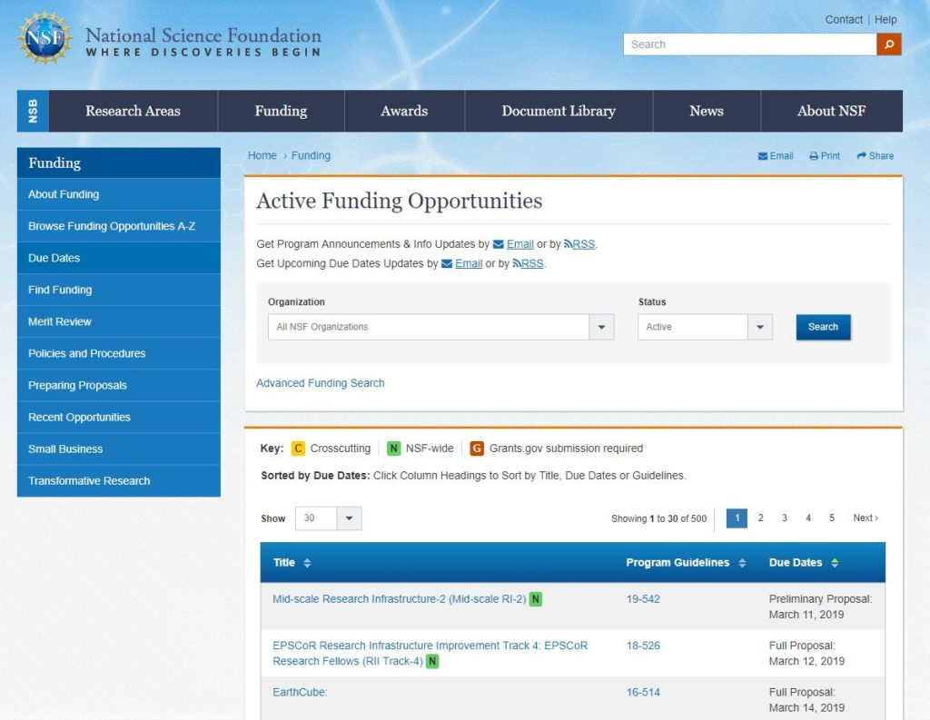 NSF Funding Opportunities Search Page