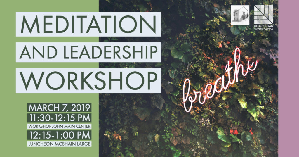 Meditation and Leadership Workshop over fauna background with neon words breath over it