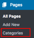 View of the Pages and Categories tab.