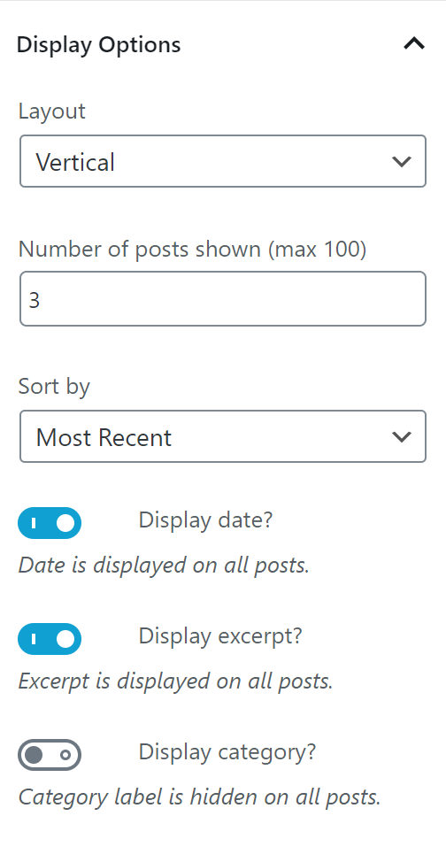 News by Category/Tag Display Options.