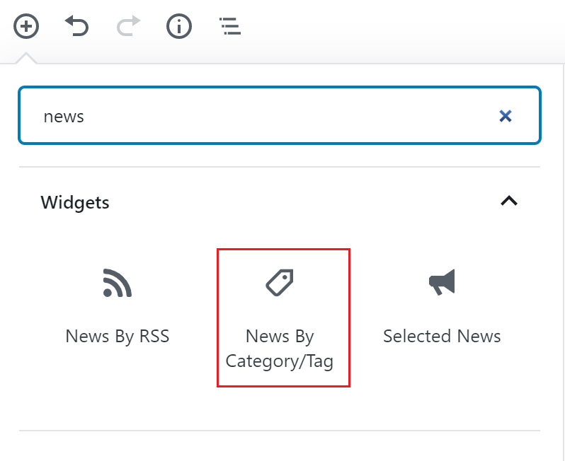 """Display of the word """"news"""" in the block search bar with the News by Category/Tag block icon outlined in red."""