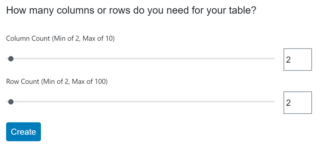 A user has chosen the Data Table block.