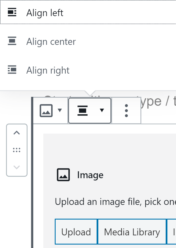 A user hovers their cursor over non-text block alignment options.