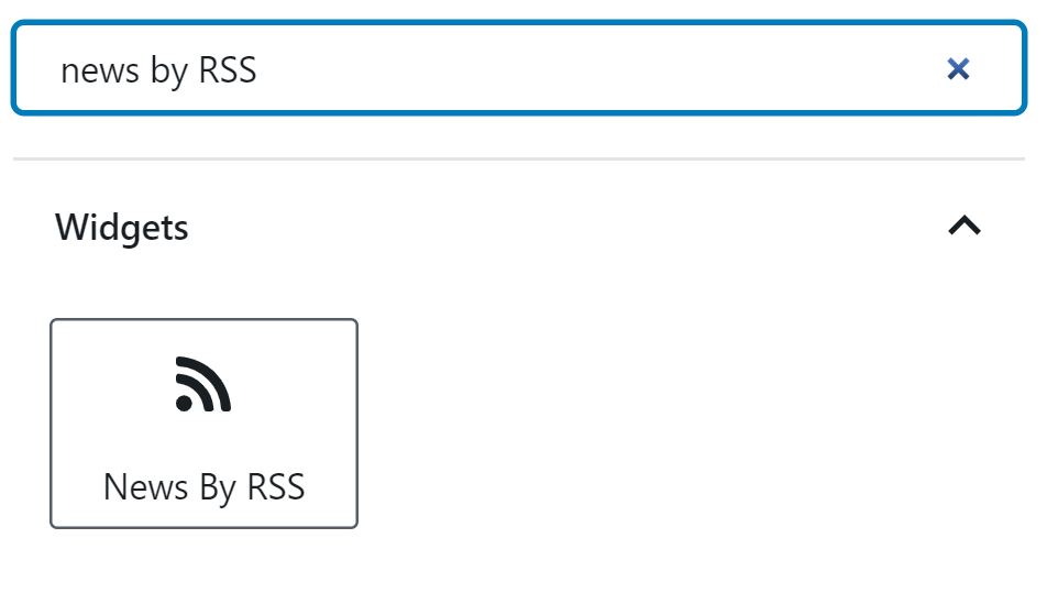 A user is searching for the News By RSS block in WordPress