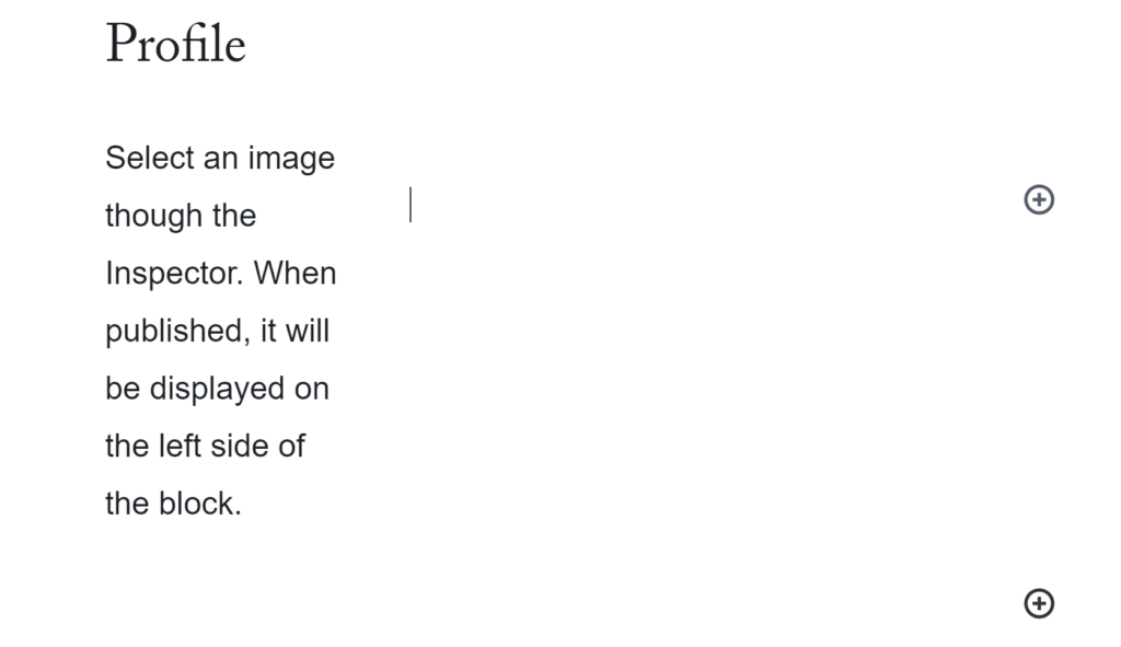 A user has filled out the text portion of profile block and is about to upload an image to alongside the text