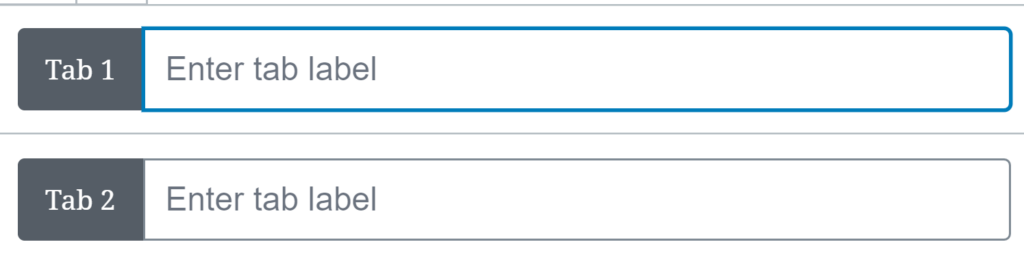 A user is about to fill out a Tab Panel block.