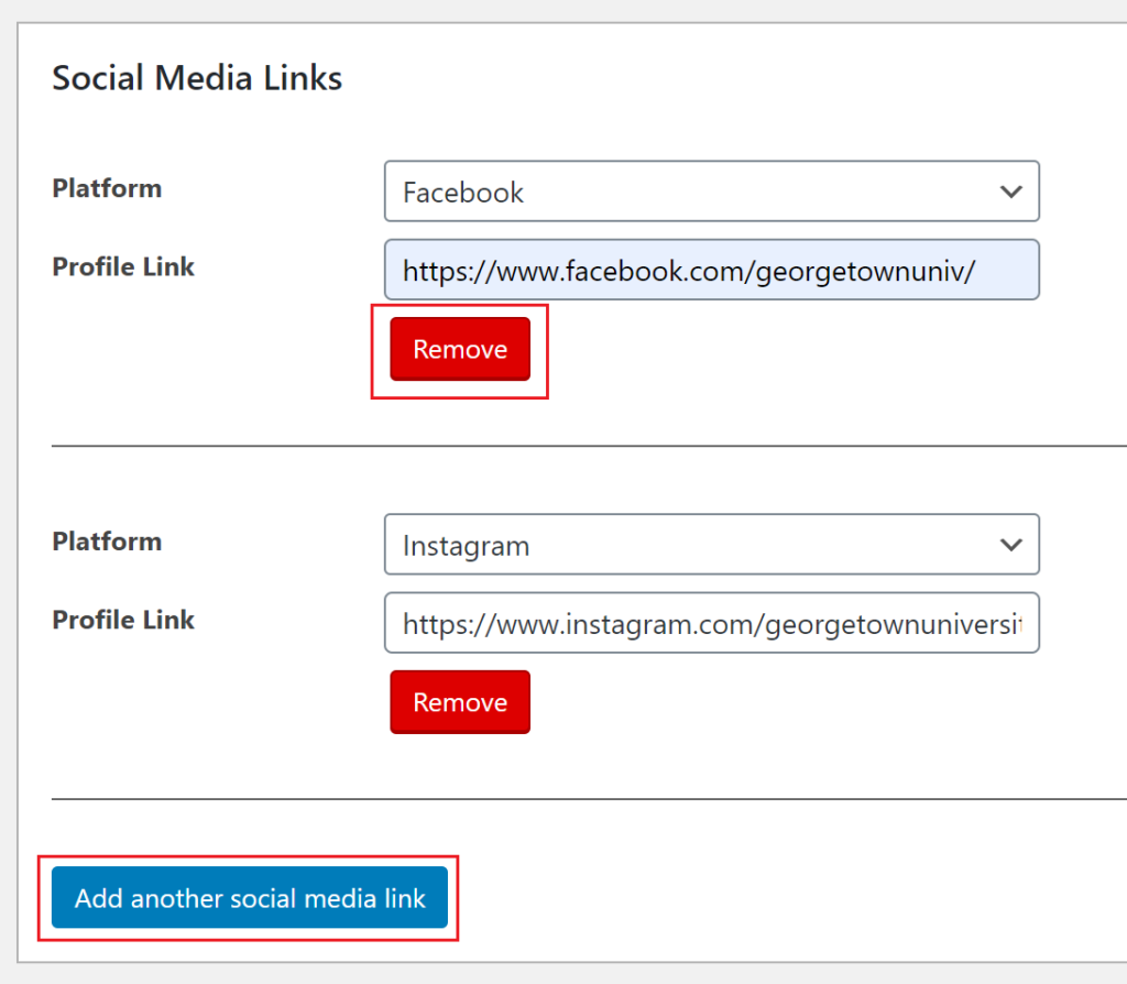 The social media links field with options to delete and add more highlighted.