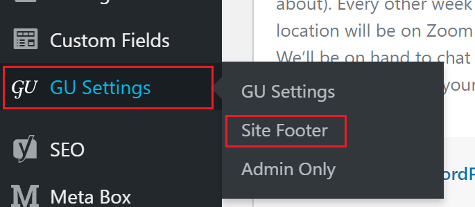 The Site Footer tab highlighted in the Administration Menu.