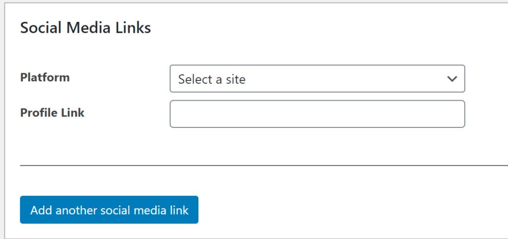 The social media links field.