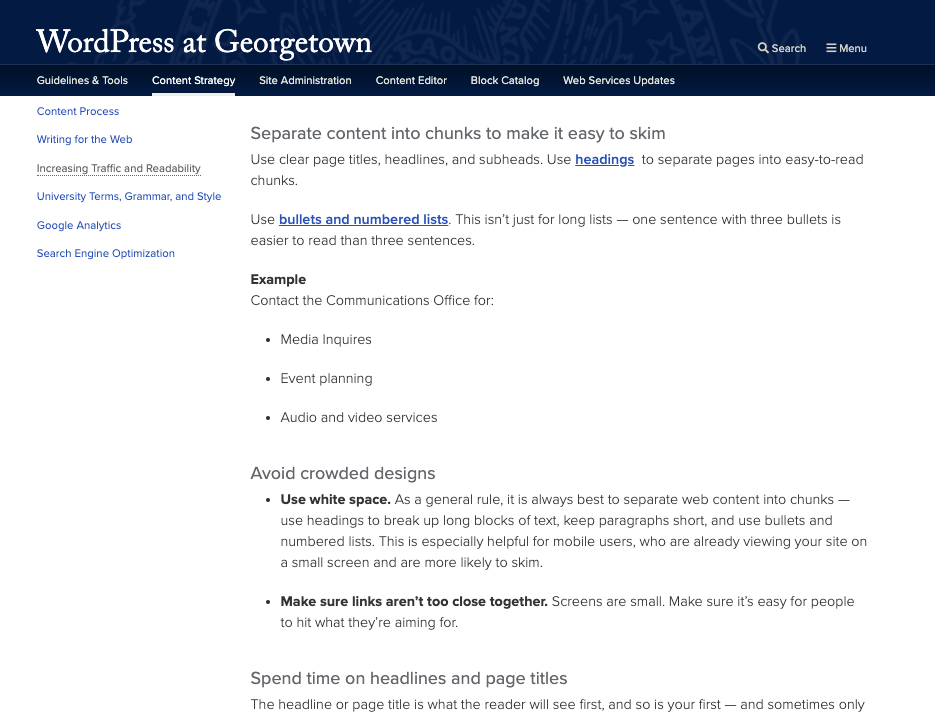A screenshot showing shorter blocks of content with separate chunks.