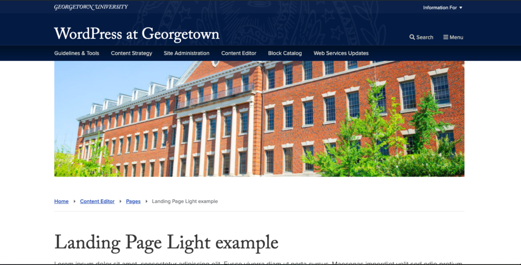 Screenshot of a page using the landing page light template with featured image, breadcrumbs, and page title visible.