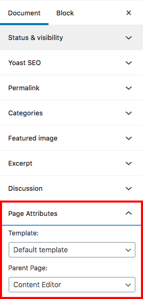View of the wordpress editor showing the page attributes section under the document menu.