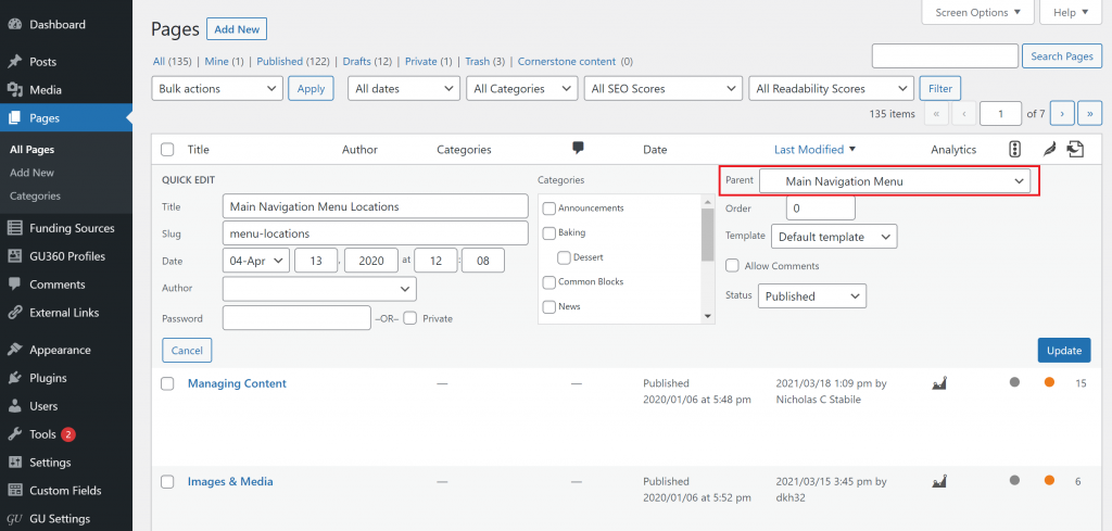 Screenshot showing the result of clicking the quick edit option in the editor view. The parent page option is highlighted.