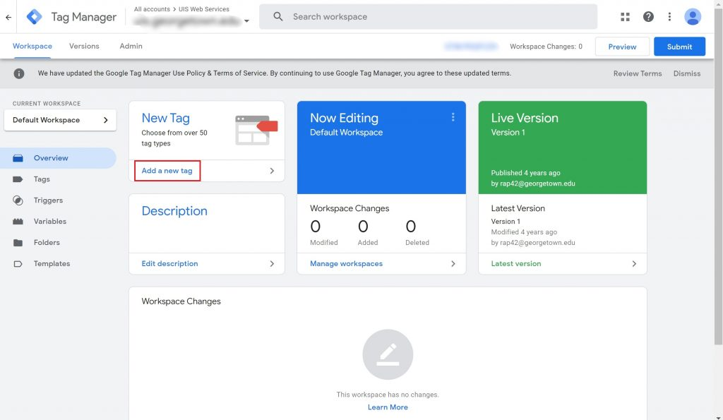 """View of the Google Tag Manager workspace with the """"Add a new tag"""" option highlighted."""