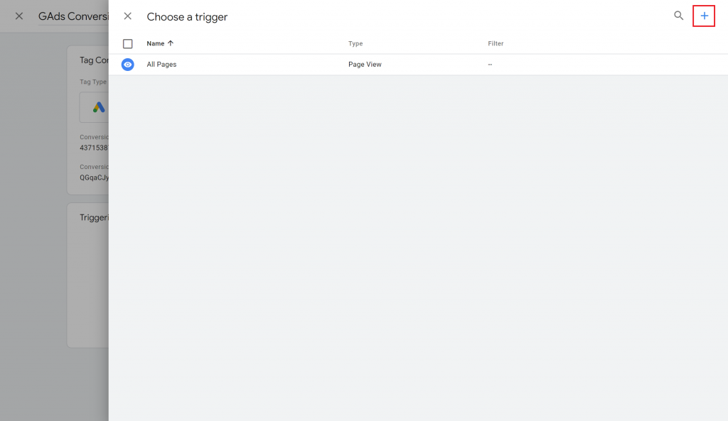 View of the Choose a trigger section in Google Tag Manager with the plus icon highlighted.