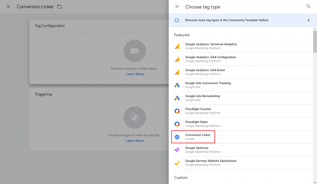 View of the Choose tag type menu in Google Tag Manager with the Conversion Linker option highlighted.