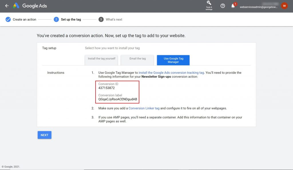Google Ads tag set-up instructions with the Conversion ID and Conversion label sections highlighted.