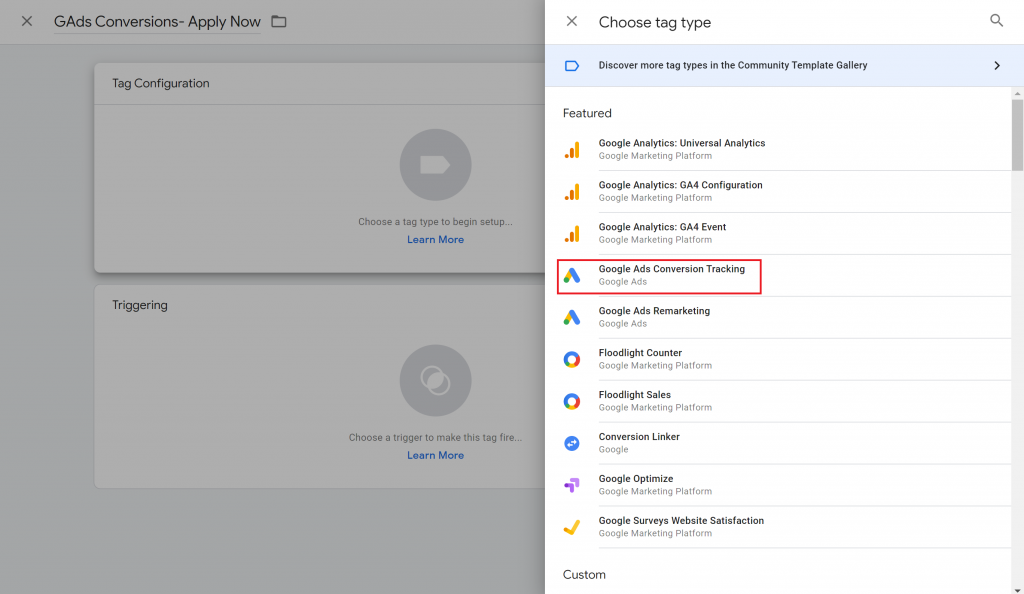 View of the Choose tag type menu in Google Tag Manager with the Google Ads Conversion Tracking tag highlighted.