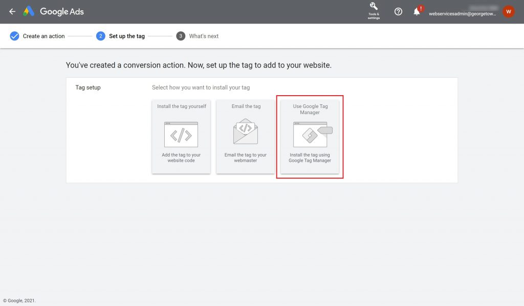 """Google Ads Tag setup view with the """"Use Google Tag Manger"""" option highlighted."""
