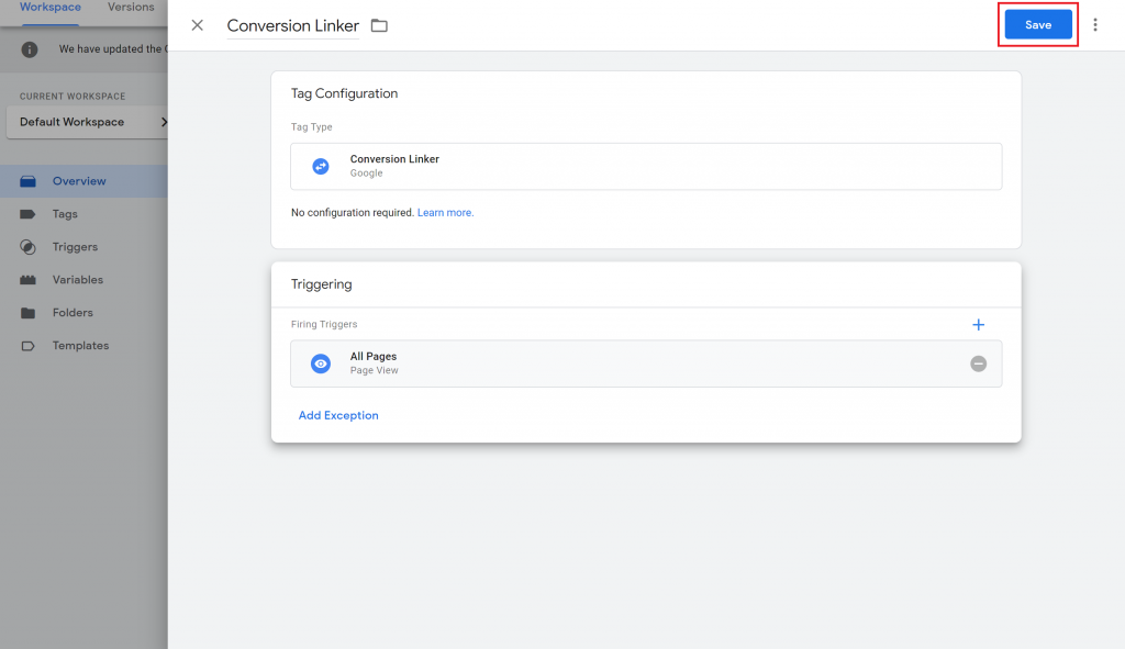 View of creating a conversion linker tag in Google Tag Manager.