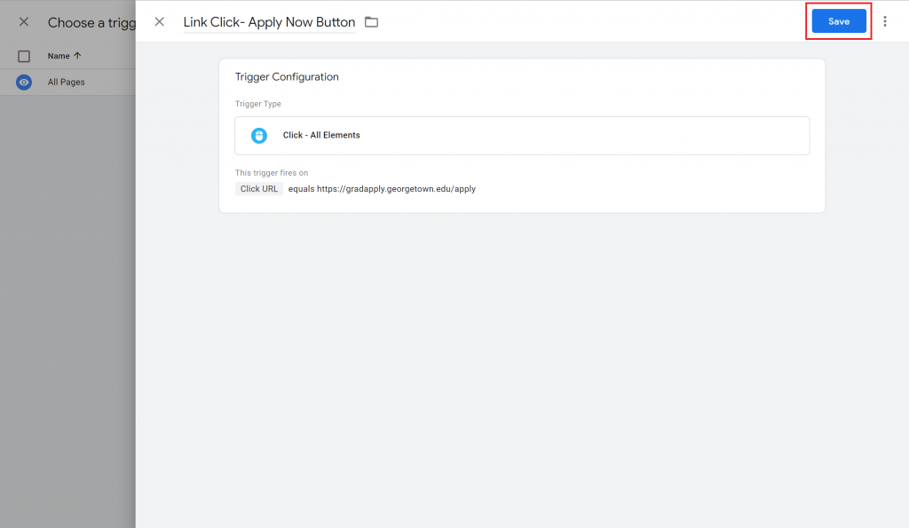 View of a completed trigger in Google Tag Manager with the Save button highlighted.