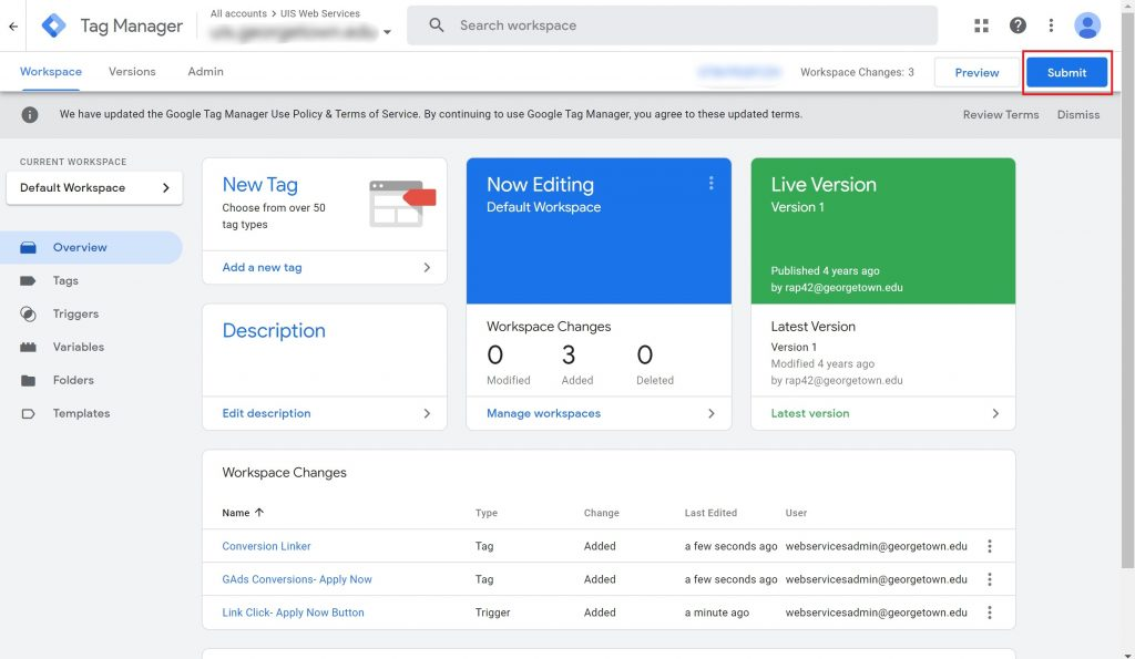 View of the Google Tag Manager workspace with the Submit button highlighted.